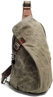 Waterproof Batik Backpack Vintage Chest Bag Men Khaki Canvas Shoulder Bag Casual Dupling Type Backpack (Color : Green, Size : S)