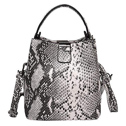 MEGAUK Damen Schlange Optik Umhängetasche Handtasche Beuteltasche Bucket Bag Schultertasche Henkeltasche mit Breit Taschengurt (Weiß)