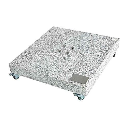 Doppler Granitplatte mit Rollen, Sockel für Sonnenschirm, 140 kg, 80 x 80 x 8 cm