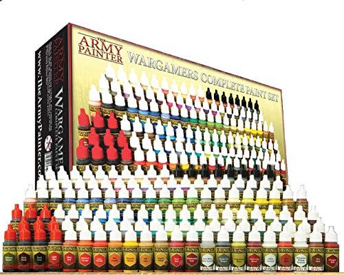 The Army Painter 🖌   Set Completo   Wargamers Complete Paint Set   124 Colori Acrilici, Metallics e Washes   5 pennelli Wargamer per pittura di modelli in miniatura