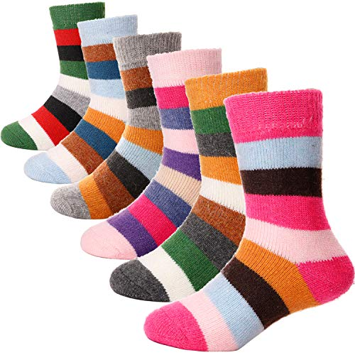 ANTSANG Kids Wool Hiking Socks 6 Pairs Boot Toddlers Boys Girls Cabin Thick Snow Warm Child Winter Thermal Crew Striped Socks(Color Stripe,8-12Y)