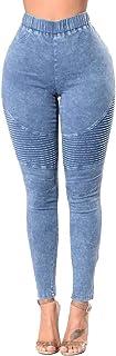 WSPLYSPJY Women's Jeans Distressed Boyfriend Skinny Low Rise Stretch Ripped Biker Denim Pants
