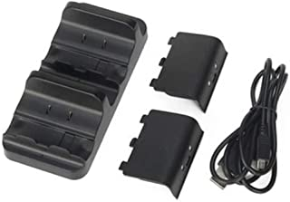 Dual Charger Station - Xbox Battery Charging Base, with 2 Rechargeable Batteries and Usb Cable Xbox charger for Dual Gamepad