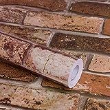 Brown Brick Peel and Stick Wallpaper, Self-Adhesive Textured...
