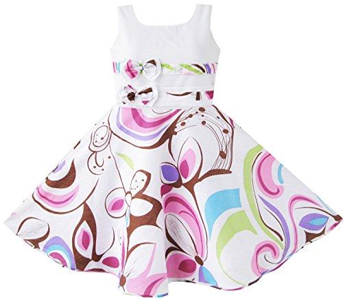 Mädchen Kleid Lila Paisley Blume Drucken Doppelklicken Bogen Binden Gr.128-134