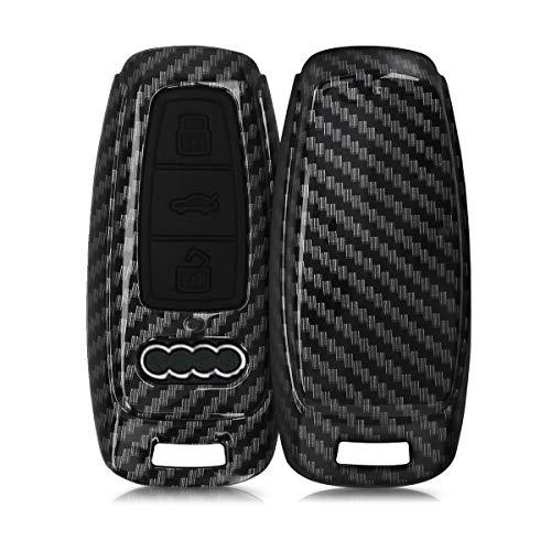 kwmobile Funda Compatible con Audi A6 A7 A8 Q7 Q8 Llave de Coche Keyless de 3 Botones - Carcasa Dura para Llave de Coche Mando de Auto - Carbono Negro