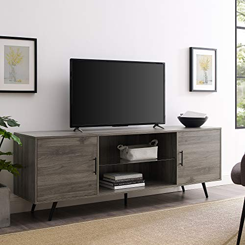 Walker Edison Furniture Company Mid Century Modern Wood Universal Stand for TV's up to 80