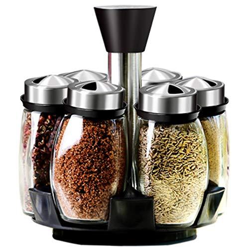 Revolving Spice Rack Condiment Spinning Aanrechtblad Kruid en Kruidenrek Organizer met 6 Glazen Potjes Keuken Opslagrek (Specerijen niet inbegrepen)