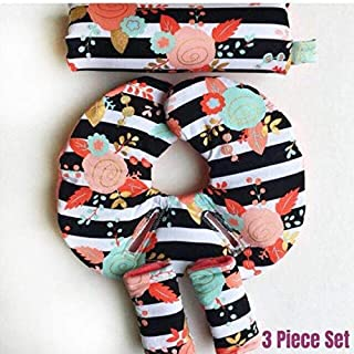 Pram Liner Floral Car Seat Arm Pad Infant Head Support Car Seat Head Support with Preemie//Newborn Insert Black and White Stripes,Hot Pink Newborn Head Protector Stroller Liner Strap Covers
