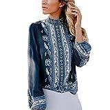 SHOBDW LiquidacióN De Ventas Moda SeñOras Formales De La Oficina Mujer De ImpresióN Gasa Collar del Soporte Camisa Retro Blusa OtoñO Invierno De Manga Larga Tops (XL, Azul)