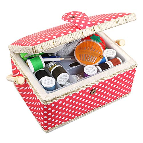 Large Sewing Box with Accessories Sewing Kit Storage and Organizer with Complete Sewing Tools, Wooden Sewing Basket with Removable Tray and Tomato Pincushion for Sewing Mending, Red