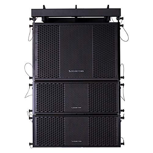 Sound Town ZETHUS Series Line Array Speaker System with One 15-inch Powered Line Array Subwoofer, Two Compact 2 X 8-inch Line Array Speakers, Black
