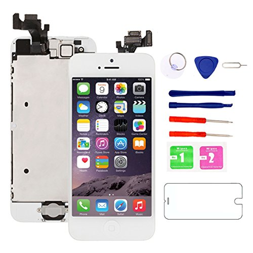 """for iPhone 5 Screen Replacement White, 4.0"""" LCD Display Touch Full Assembly with Home Button, Proximity Sensor, Ear Speaker, Front Camera, Screen Protector, Repair Tools for A1428, A1429, A1442"""