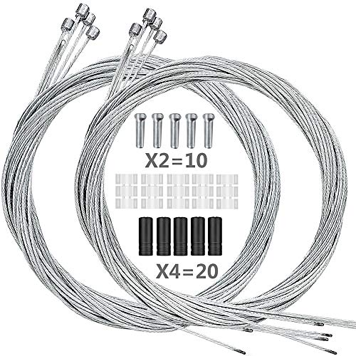 Hyacinth 10PCS Premium Bike Shift Cable, Professional Bicycle Shift Wire Kit for Mountain and Road Bicycle, for Free 5 O-Rings, 10 End Ferrules and 20 End Caps