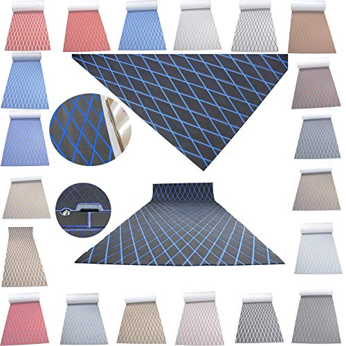 Haiping Line High-end Latest Products Self Adhesive EVA Foam Faux Teak decking Decorative Cushions Boat Floor Non-Slip mat Boat Flooring (Dark Gray and Blue Stripes, 74.8'X 27.5' X 0.24')