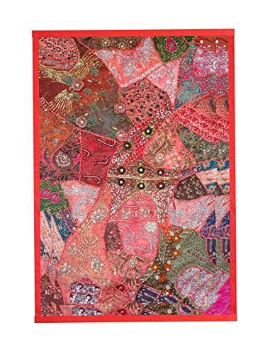 Rastogi Handicrafts Tapiz indio bordado a mano para colgar en la pared, diseño vintage de patchwork, color rojo, 102 x 152 cm