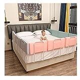 JHAISMAO Bed Guardrail, Bed Bed Guard, Anti-Fall Baby Beater Protection Guard para Niños Pequeños Bebé Y Niños - Un Lado(Size:1.8m【60CM*3】,Color:Rosado)