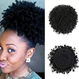 Afro Kinky Curly Puff Drawstring Ponytail High Puffs Drawstring Bun 2 Clips in Hairpieces Updo Donut Chignon Small Large Size 8inch Short Curly Hair for Black Women (Large, 1B)