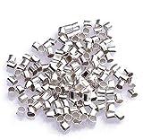 Nicedeal - Perline a crimpare a tubo, 2 mm, placcate in argento, per la creazione di gioielli, confezione da circa 500 pezzi