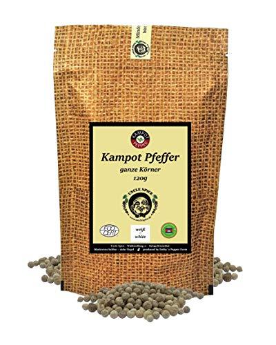 Uncle Spice weißer Kampot Pfeffer - 120g Kampot Pfeffer weiß - Premiumqualität - ganze sonnengetrocknete Pfefferbeeren, weiße Pfefferkörner ganz, handverlesen für die Mühle, Perfekt als Geschenk