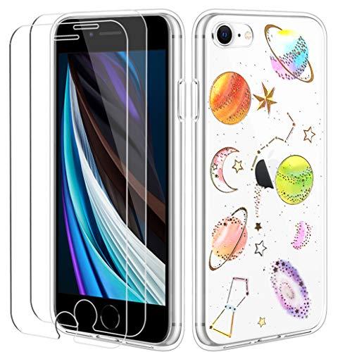 Yoowei para iPhone SE 2020 & iPhone 7/8 Funda Cristal Templado, Planeta Transparente Silicona Lentejuela Brillo Brillante Suave Carcasa con 2 Unidades Protector de Pantalla de Cristal Vidrio Templado