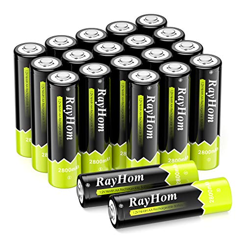 RayHom NiMH 2800mAh AA Rechargeable Batteries (20 Pack)