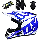 OTBKNB Cascos Integrales Infantil con Guantes Gafas Máscara, Aprobado Dot Conjunto Casco Motocross Motocicleta Adultos Casco Protector Offroad Dirt Bike con Diseño Fox, Azul Blanco