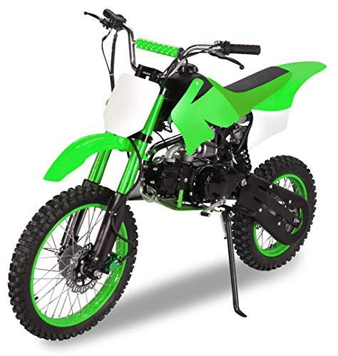 Actionbikes Motors Midi Kinder Jugend Crossbike JC125 125 cc - Hydraulische Scheibenbremsen - CDI Zündung - Bis 80 Km/h (Grün)