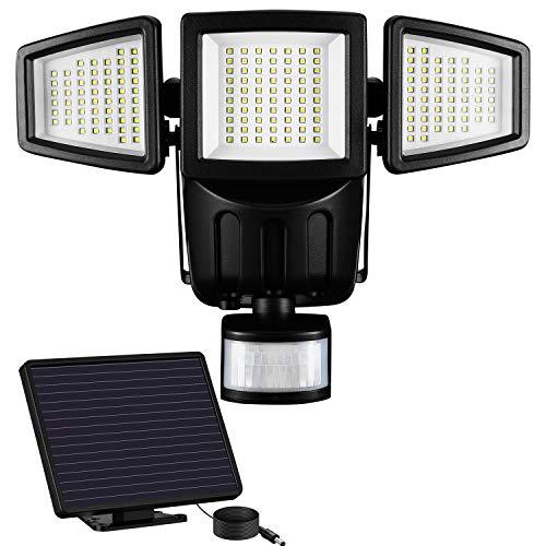Solarlampen für Außen -182 LED Außenstrahler mit Bewegungsmelder 1500 lumens 6000K IP65 Wasserdicht 270° Bewegungsmelder Außenleuchte Wandleuchte