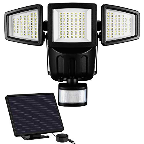 Solarleuchten Außen - Außenleuchte Sicherheitsleuchte Bewegungsmelder Flutlicht, 1500 Lumen Solarlampe, 5 Meter Kabel Hauseingang, 182 LED Solarlicht, 3-fach Leuchte Solarleuchte, Wasserdicht IP65