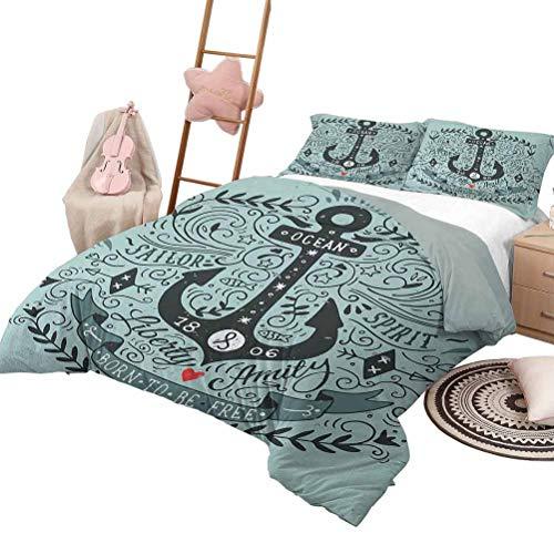 Funda nórdica Conjuntos de ropa de cama para niños de color azul marino Doble estilo vintage Citas de letras de ancla y diseño floral de marinero marino Impresión de ilustraciones King Size Turquesa