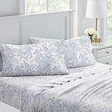 Laura Ashley Home Betina Collection | Juego de sábanas ultra suave que absorbe la humedad, no irritante, transpirable y sin arrugas, juego de sábanas de tencel de fácil cuidado, King, azul
