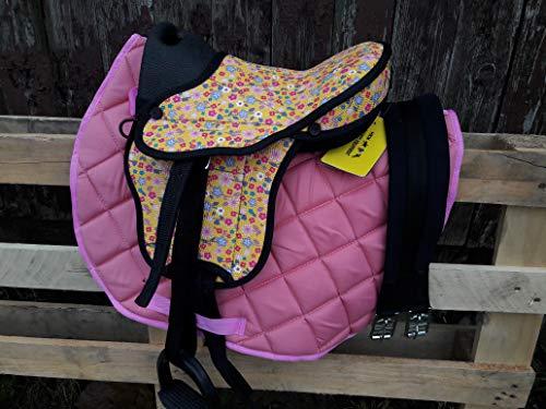 """HKM Shettysattel-Set -Colourful-, Flower/pink, 12\"""""""