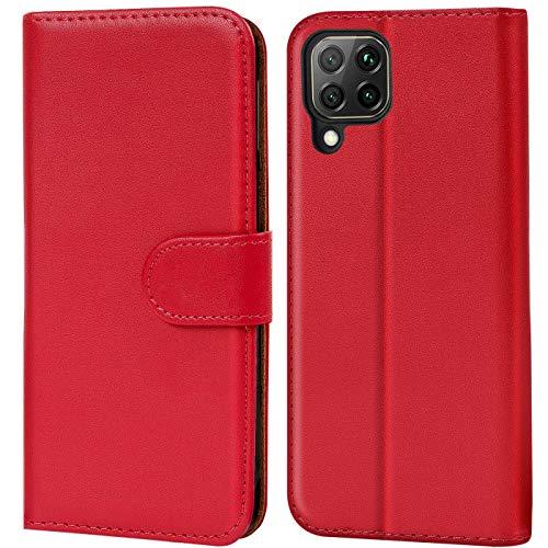 Verco Huawei P40 Lite Hülle, Handyhülle für Huawei P40 Lite Tasche PU Leder Flip Hülle Brieftasche, Rot