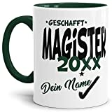 Tassendruck Magister-Tasse Geschafft Magister 20XX - Selbst gestalten mit Jahr & Name zum bestandenen Magister/Abschluss/Lernen/Prüfung/personalisierte Geschenk-Idee/Innen und Henkel Dunkelgrün