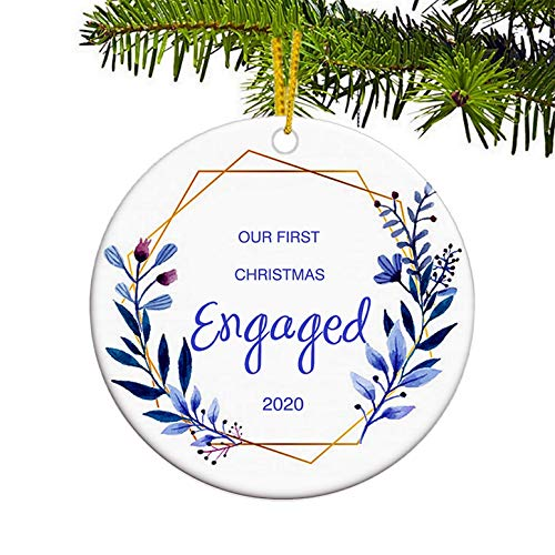 JUPPE Purple Wreath Our First Christmas Engagad 2020 Ornament Xmas Tree Decoration Mr & Mrs Newlywed Romantic Couples Gift (Style-3)