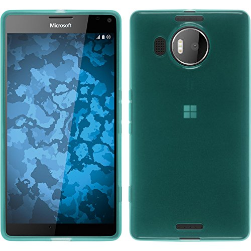 PhoneNatic Case für Microsoft Lumia 950 XL Hülle Silikon türkis transparent Cover Lumia 950 XL Tasche + 2 Schutzfolien