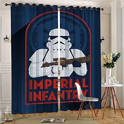 Cortina para niños, diseño de Star Wars, insignias de infantería imperial con ojales sólidos, cortinas opacas, 110 x 215 cm x 2 piezas