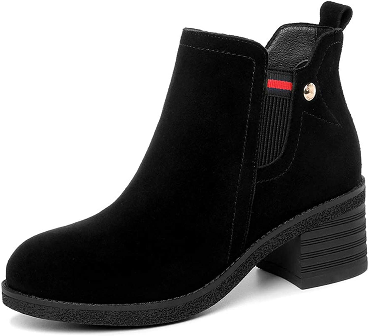 Ladies Booties, High Heel Plus Velvet Leather Thick Heel Fashion Boots Women's Fall Winter Ankle Boots (color   B, Size   36)