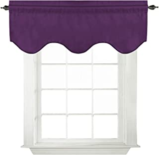 Turquoize Solid Blackout Valance, Short Curtains, Scalloped Window Treatment, Plum Purple, 52-inch by 18-inch, 1 Panel