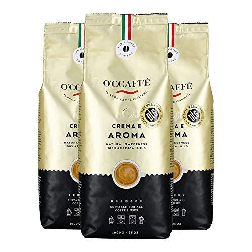 O'CCAFFÈ – Crema e Aroma 100% Arabica Kaffee | 3 x 1 kg ganze Kaffeebohnen | extra langsame Trommelröstung aus italienischem Familienbetrieb