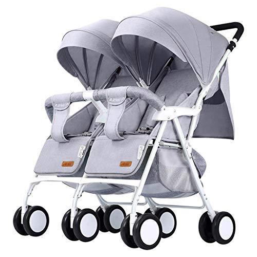 Twin Baby kinderwagen lichtgewicht vouwen dubbele auto kan zitten liggend draak en Phoenix tweede kind baby licht Trolley kan worden opgetild op de afneembare schoonmaak Grijs