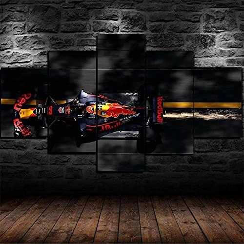 YUXIXI Cuadros para Dormitorios Modernos 5 Piezas Impresión De Material Artística Salón Gráfica Decoracion Pared Arte Regalos Originales para Mujer/Coche De Fórmula F1 Red Bull Racing 150x80cm