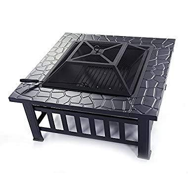 FCH 32  Metal Fire Pit Outdoor Backyard Patio Garden Square Stove Brazier with Charcoal Rack, Poker & Mesh Cover 32  L x 32  W x 17  H