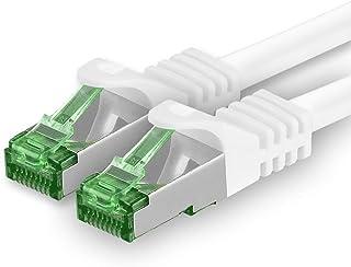 Cat7 nätverkskabel 25m - vit - 1 stycke - Cat 7 ethernetkabelnätverk Lan-kabel råkabel 10 Gigabit s - SFTP PIMF LSZH - pat...