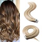 Extension Adhesive Cheveux Naturel 20 PCS - Rajout 100% Cheveux Humain à Bande Adhésive (1.5g/pcs) - #18/613 Blond cendré/Blond très clair - 45CM