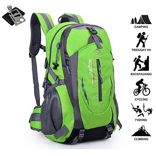 Fansu 40-50L Ultra Lightweight Backpack Foldable Hiking Daypack, Waterproof Rucksack Travel Bag for Men Women Outdoor Camping Mountaineering Walking Cycling Climbing (50L,Green)