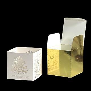 Gift Box 50Pcs Candy Box Ramadan Favor Gift Boxes Festival Supplies Eid Decor Gift Box (Color : Ivory, Gift Box Size : 5x5...