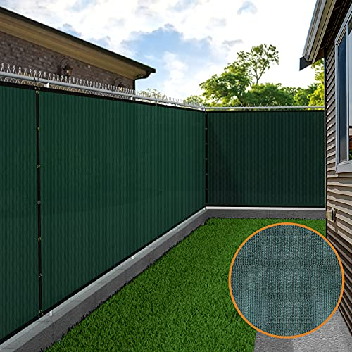 """Amagabeli 6'x50'Shade Cloth Taped Fence 90% Blockage Privacy Fabric Screen Heavy Duty 5'8""""x50'for Railing Fence Fabric Screen with Grommets Windscreen Outdoor 6ft Patio Sun Mesh UV Resistant Green"""