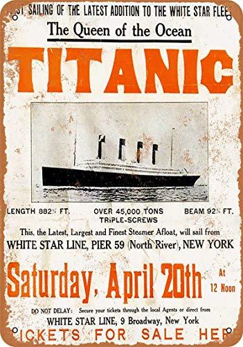 Letrero de metal de 20 x 30 cm, 1912 Titanic Maiden Voyage Art Placa Decoración para el hogar Wll Decoración para el café Bar Habitación Vintage Decor